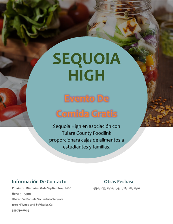 Food for Sequoia / Spanish