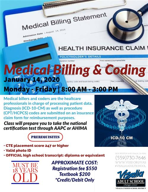 Medical Billing and Coding classes.  Start January 14th at 8 am until 3 pm.