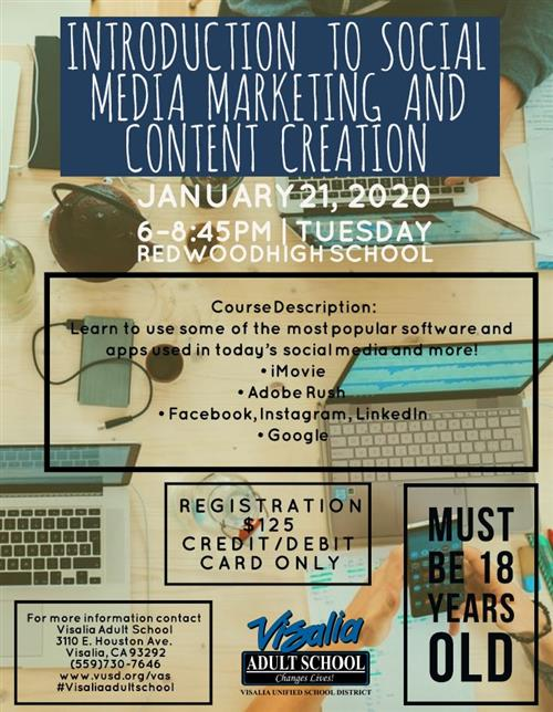 Introduction to Social Media.  Starts January 21, 2019