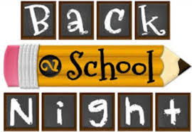 Back to School Night Thursday Aug 22