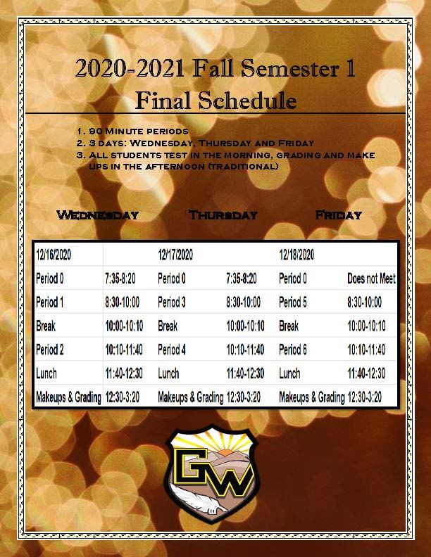 2020-2021 Fall Semester 1 Final Schedule