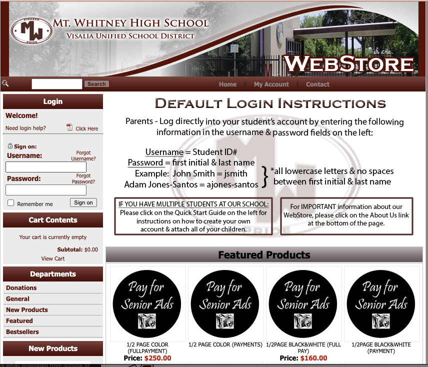 Mt. Whitney High School Web Store